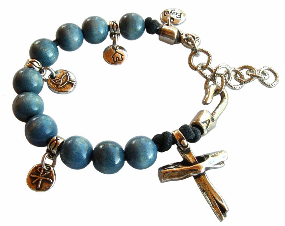 Pulsera denario cruz azul
